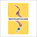 Poster compares throwing a boomerang and a plastic bottle and says Recycle