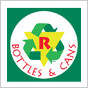 Recycling symbol with text Bottles & Cans