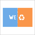 Poster is simply two colors with the word We and the recycle symbol