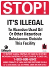 Stop! It's Illegal to Abandon Used Oil Sign English